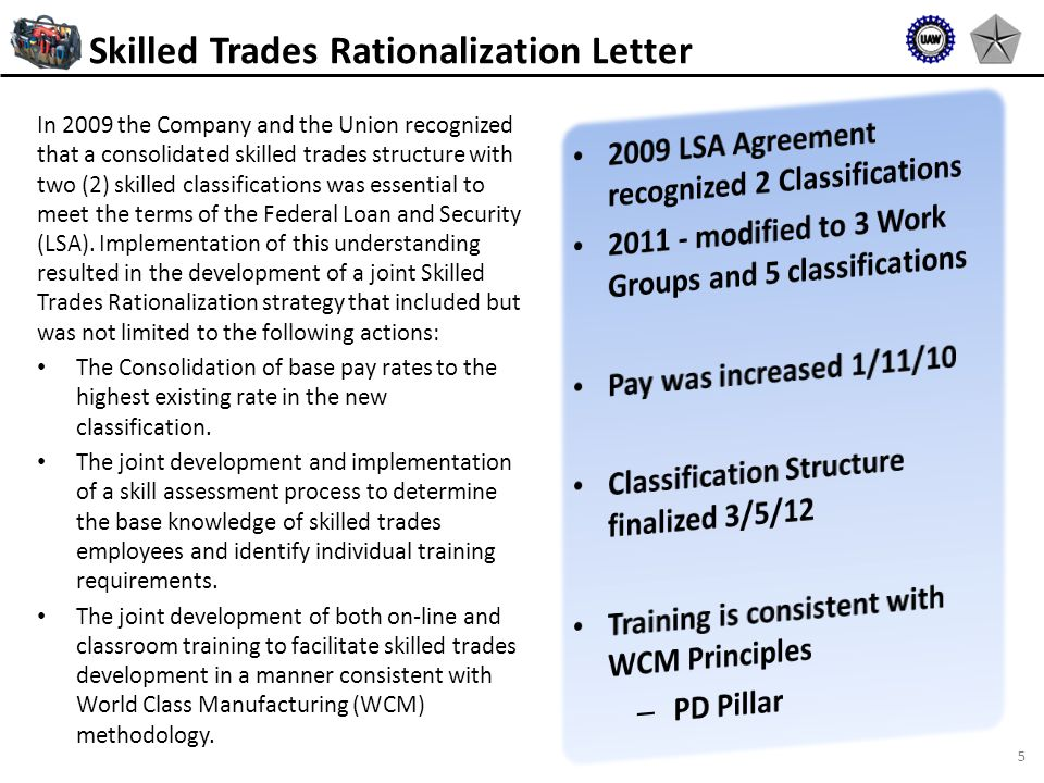 5 In 2009 the Company and the Union recognized that a consolidated skilled trades structure with two (2) skilled classifications was essential to meet the terms of the Federal Loan and Security (LSA).