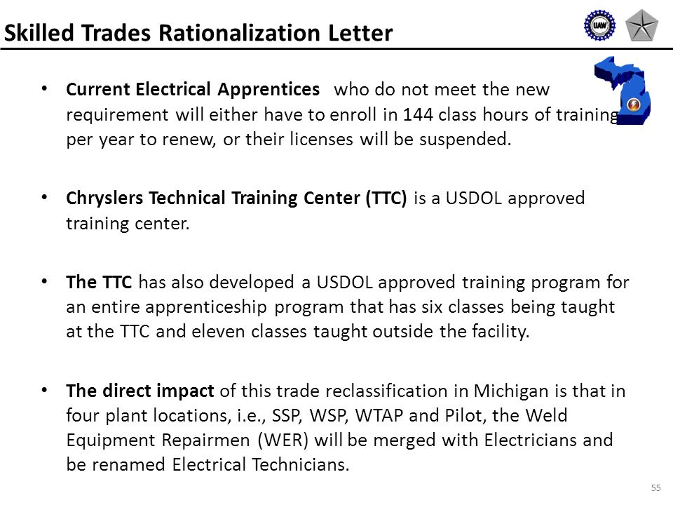 55 Current Electrical Apprentices who do not meet the new requirement will either have to enroll in 144 class hours of training per year to renew, or their licenses will be suspended.