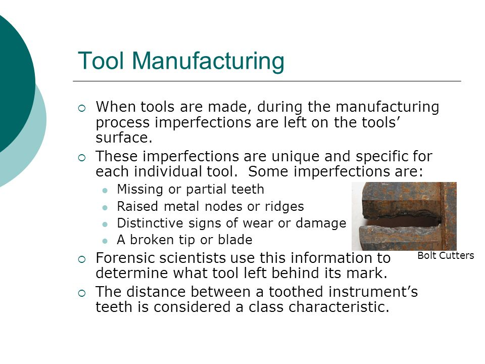 Tool Marks  Tool marks are the impressions left on a surface when the two surfaces come in contact with sufficient force.