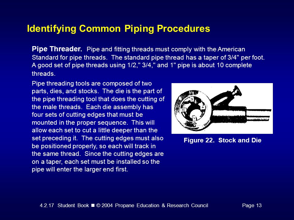 4.2.17 Student Book © 2004 Propane Education & Research CouncilPage 13 Identifying Common Piping Procedures Figure 22.