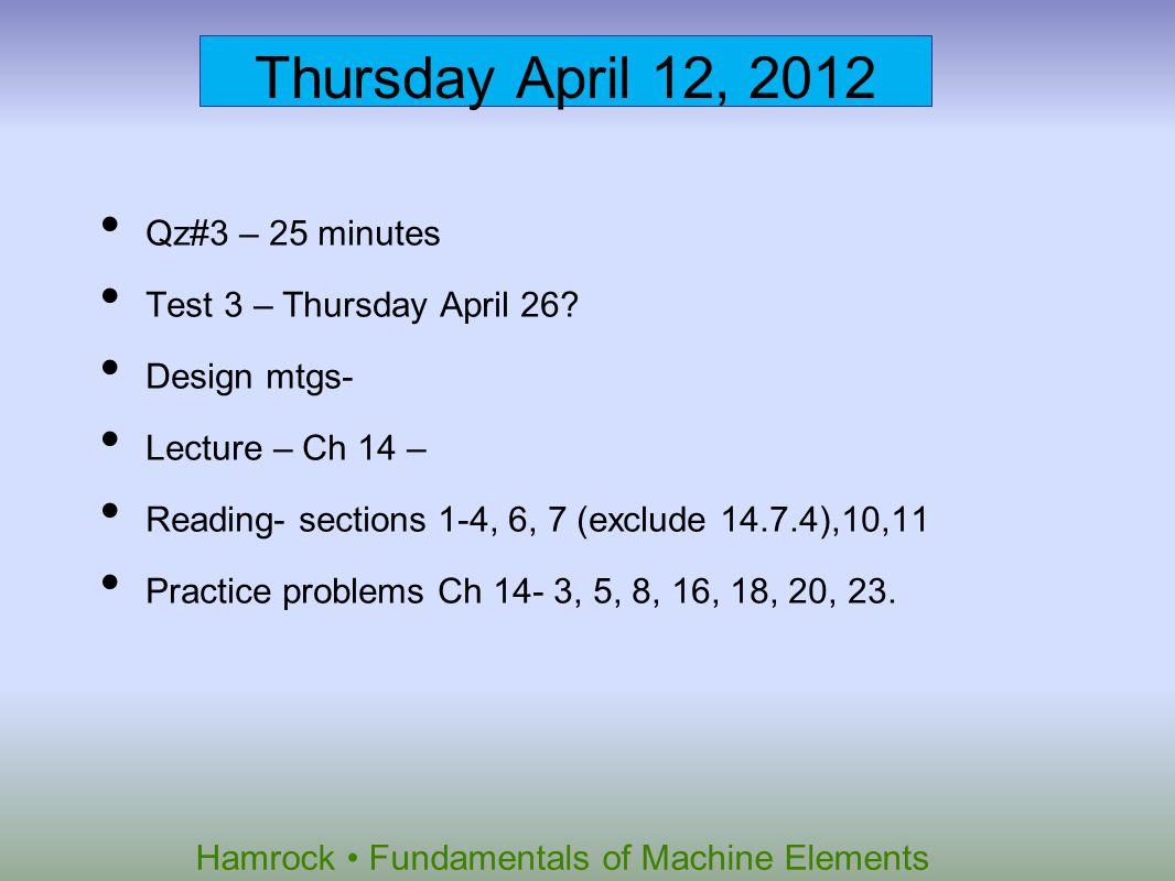 Hamrock Fundamentals of Machine Elements Thursday April 12, 2012 Qz#3 – 25 minutes Test 3 – Thursday April 26? Design mtgs- Lecture – Ch 14 – Reading-