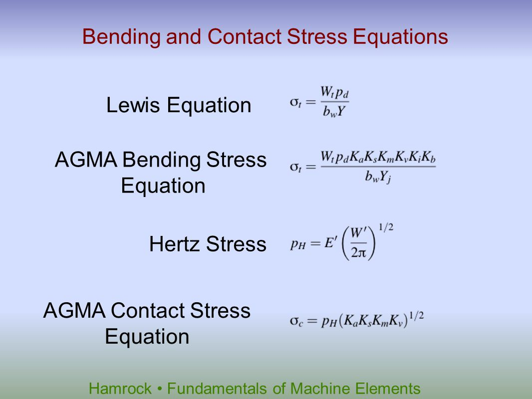 Hamrock Fundamentals of Machine Elements Bending and Contact Stress Equations Lewis Equation AGMA Bending Stress Equation Hertz Stress AGMA Contact St