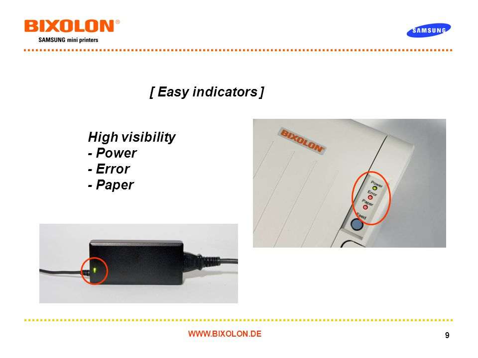 WWW.BIXOLON.DE 9 [ Easy indicators ] High visibility - Power - Error - Paper