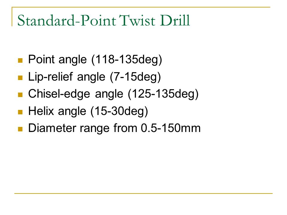 Standard-Point Twist Drill Point angle (118-135deg) Lip-relief angle (7-15deg) Chisel-edge angle (125-135deg) Helix angle (15-30deg) Diameter range from 0.5-150mm