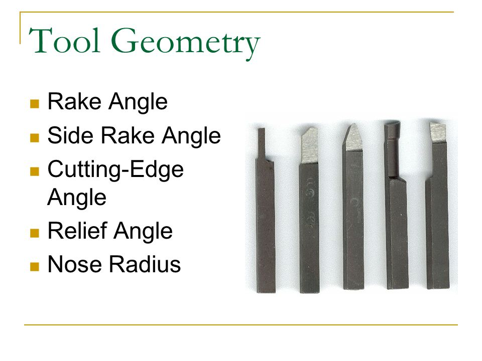 Tool Geometry Rake Angle Side Rake Angle Cutting-Edge Angle Relief Angle Nose Radius