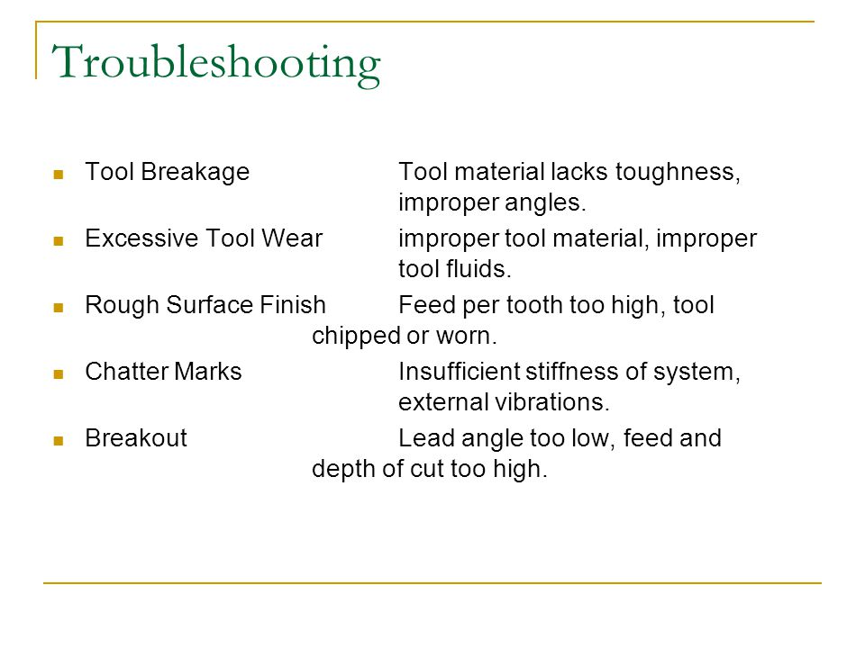 Troubleshooting Tool BreakageTool material lacks toughness, improper angles.
