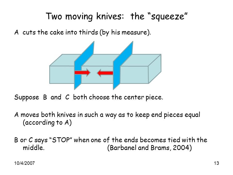Two moving knives: the squeeze A cuts the cake into thirds (by his measure).