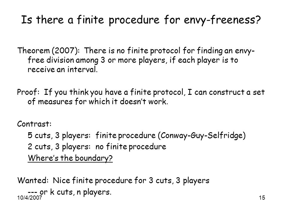 Is there a finite procedure for envy-freeness.