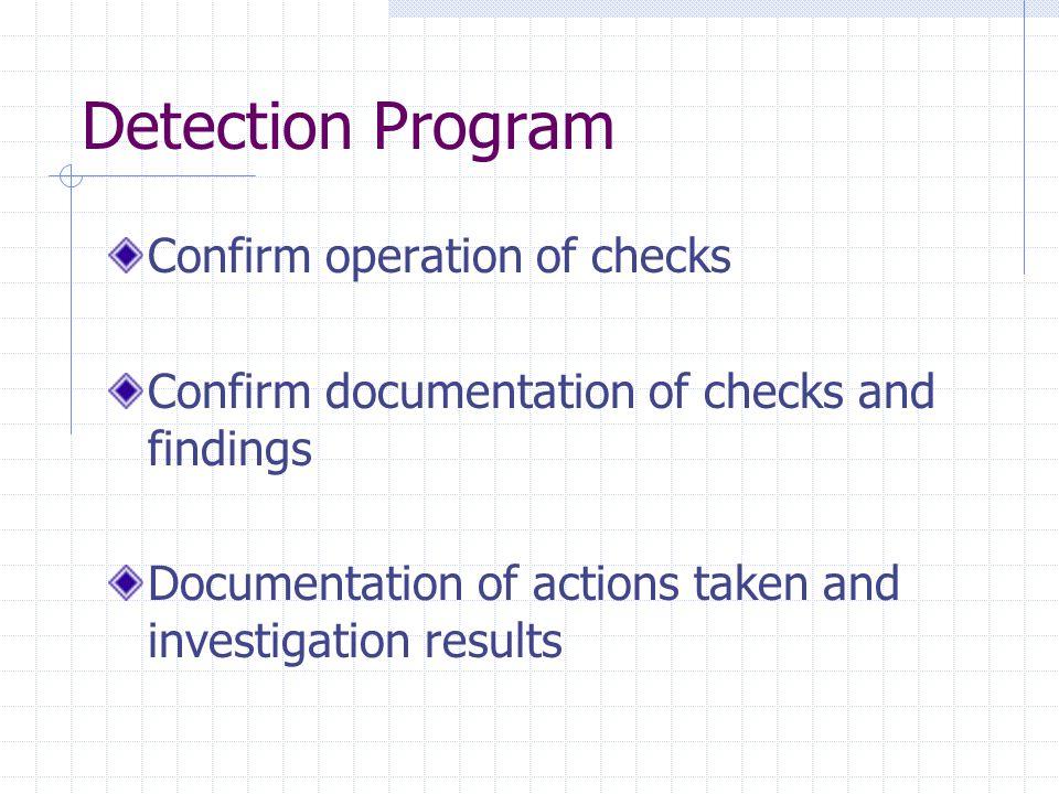 Detection Program Confirm operation of checks Confirm documentation of checks and findings Documentation of actions taken and investigation results