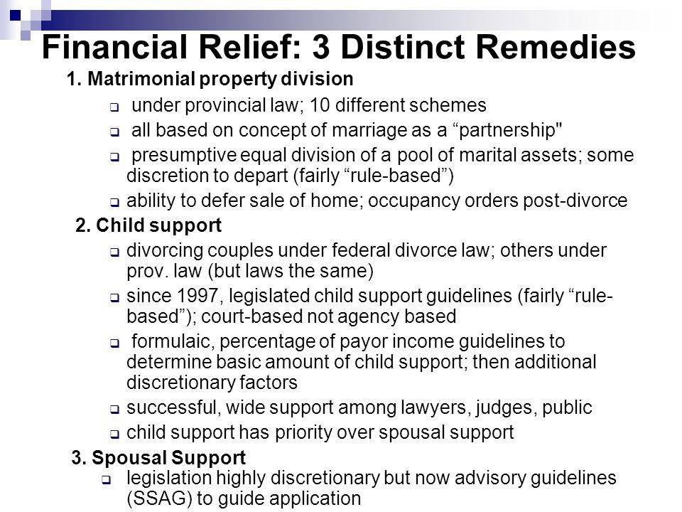 Financial Relief: 3 Distinct Remedies 1.
