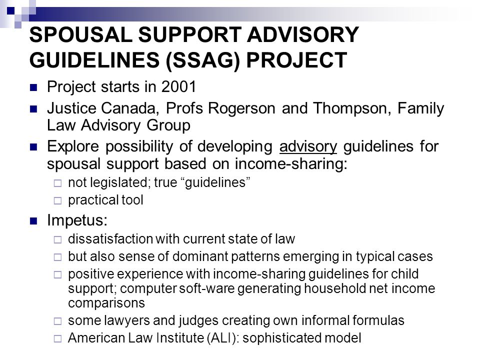 Assessment of the SSAG Formal evaluation (2012) plus evidence from consultations and case law: largely positive Widely used; provide clearer starting points and more structure; greater predictability and certainty; less conflict Duration more difficult than amount New focus on income as a major issue (actual, imputed) But complex: long document; need software; formulas not rigid and don't provide clear answers (advantage and disadvantage) Main problem: unsophisticated use; tendency to turn SSAG into default rules; ignore the exceptions; choose midpoint of range by default; but easing over time with use and education Also unclear status: advisory