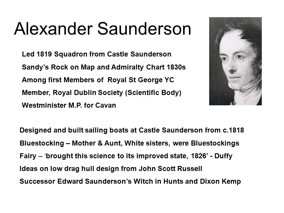 Alexander Saunderson Led 1819 Squadron from Castle Saunderson Sandy's Rock on Map and Admiralty Chart 1830s Among first Members of Royal St George YC Member, Royal Dublin Society (Scientific Body) Westminister M.P.