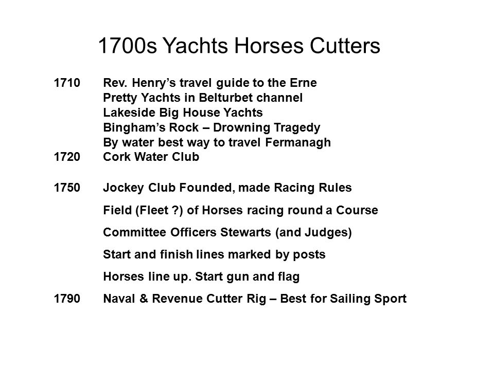 1700s Yachts Horses Cutters 1710 Rev.