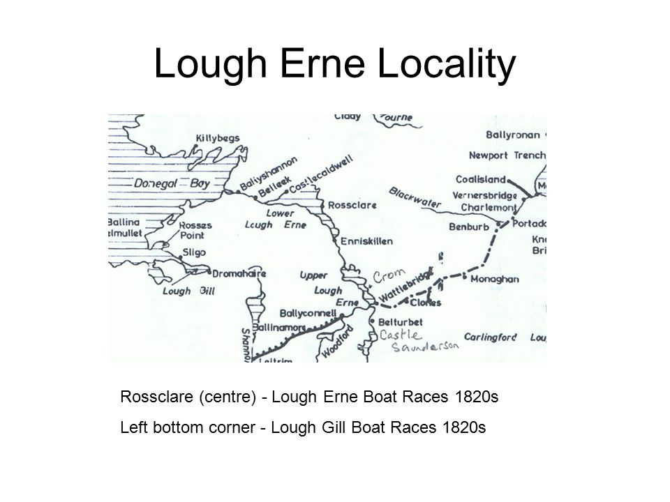 Lough Erne Locality Rossclare (centre) - Lough Erne Boat Races 1820s Left bottom corner - Lough Gill Boat Races 1820s
