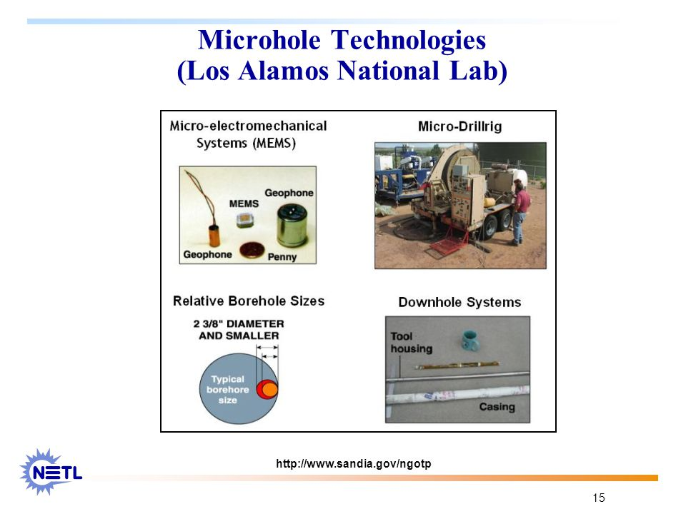 15 Microhole Technologies (Los Alamos National Lab) http://www.sandia.gov/ngotp