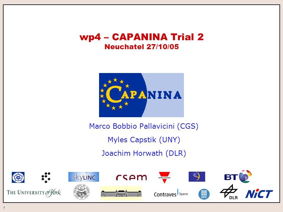1 wp4 – CAPANINA Trial 2 Neuchatel 27/10/05 Marco Bobbio Pallavicini (CGS) Myles Capstik (UNY) Joachim Horwath (DLR)