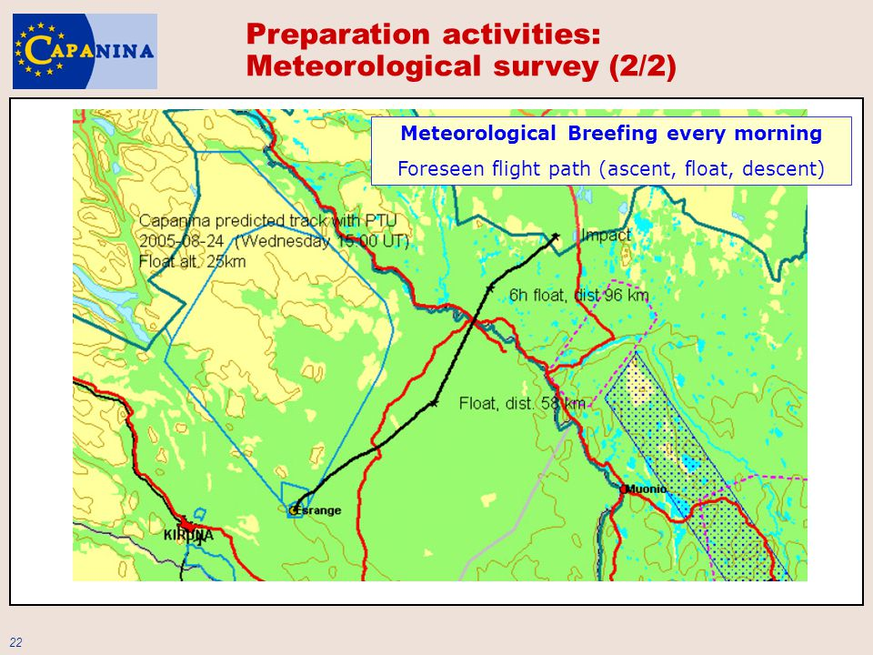 22 Preparation activities: Meteorological survey (2/2) Meteorological Breefing every morning Foreseen flight path (ascent, float, descent)