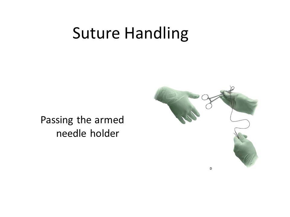 Suture Handling Passing the armed needle holder