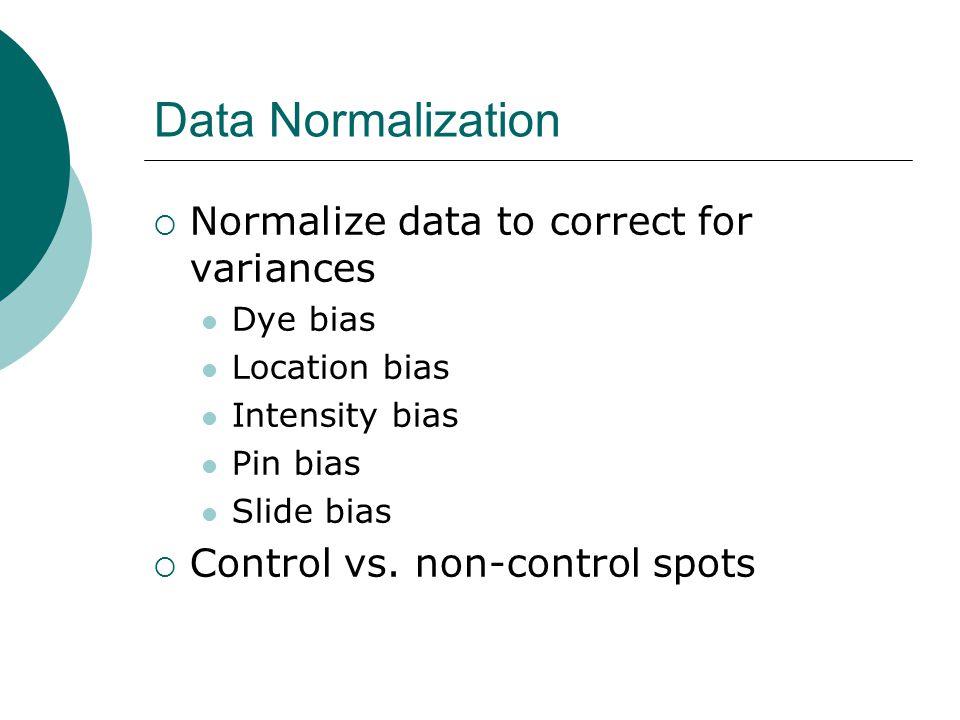 Data Normalization  Normalize data to correct for variances Dye bias Location bias Intensity bias Pin bias Slide bias  Control vs. non-control spots