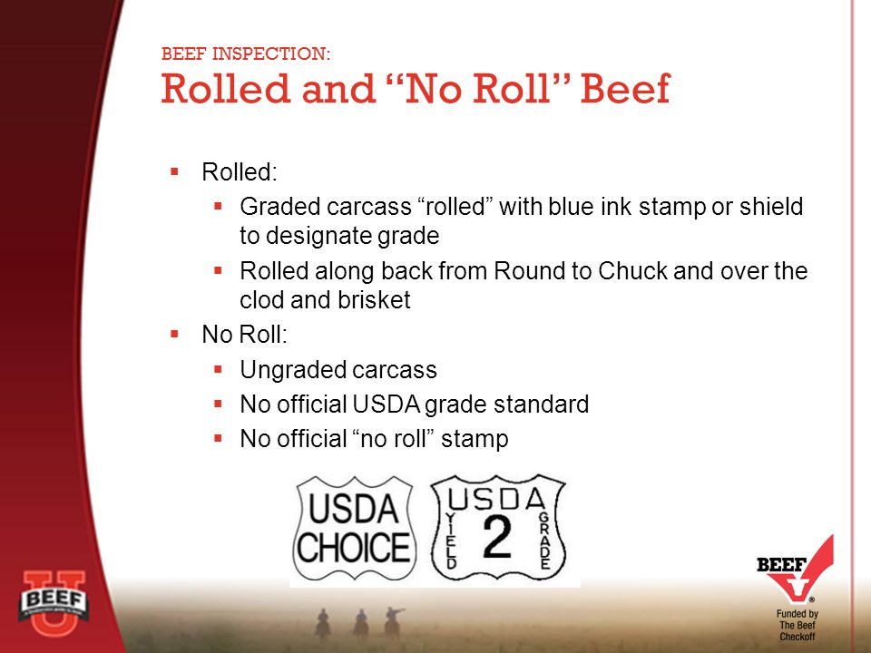  Rolled:  Graded carcass rolled with blue ink stamp or shield to designate grade  Rolled along back from Round to Chuck and over the clod and brisket  No Roll:  Ungraded carcass  No official USDA grade standard  No official no roll stamp Rolled and No Roll Beef BEEF INSPECTION:
