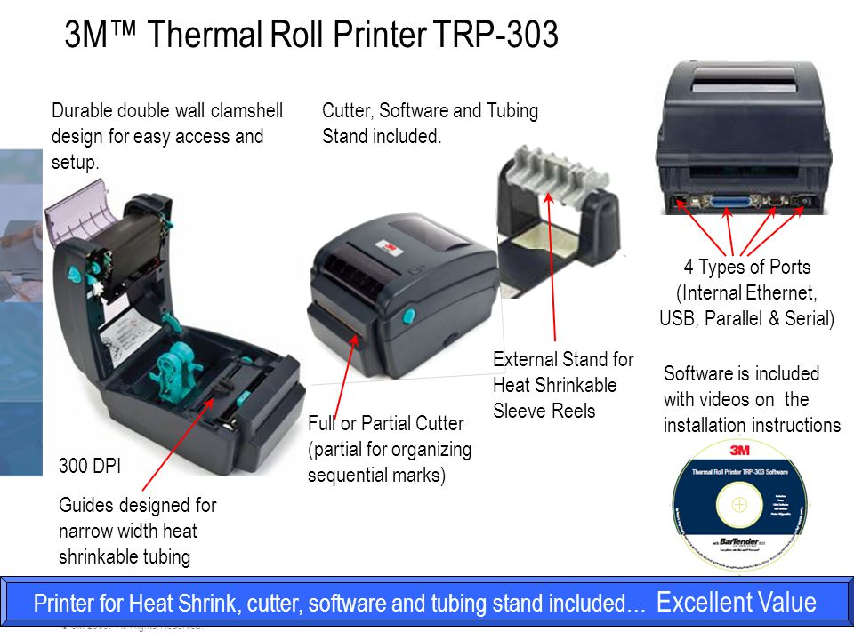 4 3M Electrical Markets Division © 3M 2009. All Rights Reserved. 3M™ Thermal Roll Printer TRP-303 Printer for Heat Shrink, cutter, software and tubing