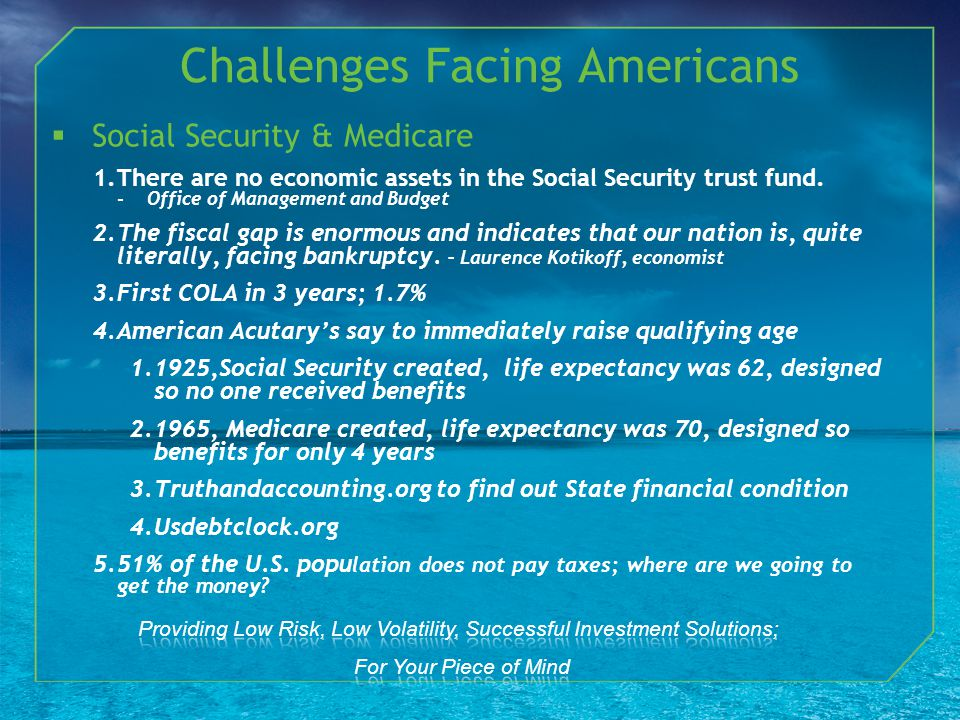 Social Security & Medicare 1.There are no economic assets in the Social Security trust fund.