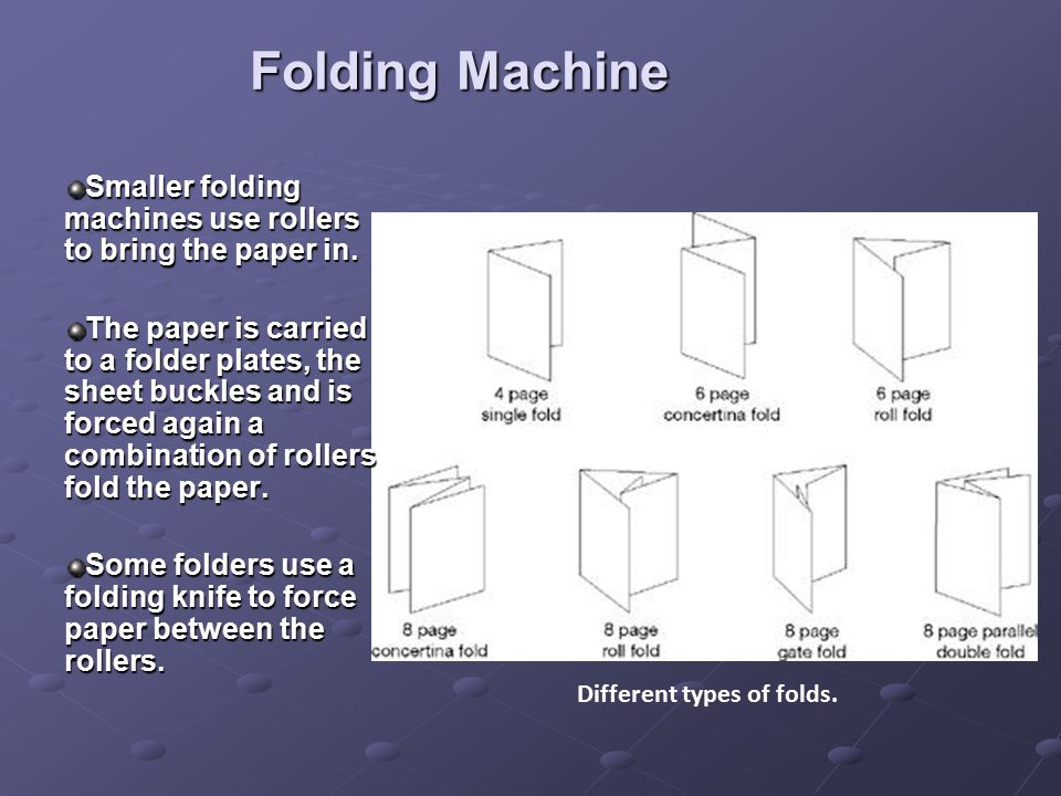 Folding Machine Smaller folding machines use rollers to bring the paper in.