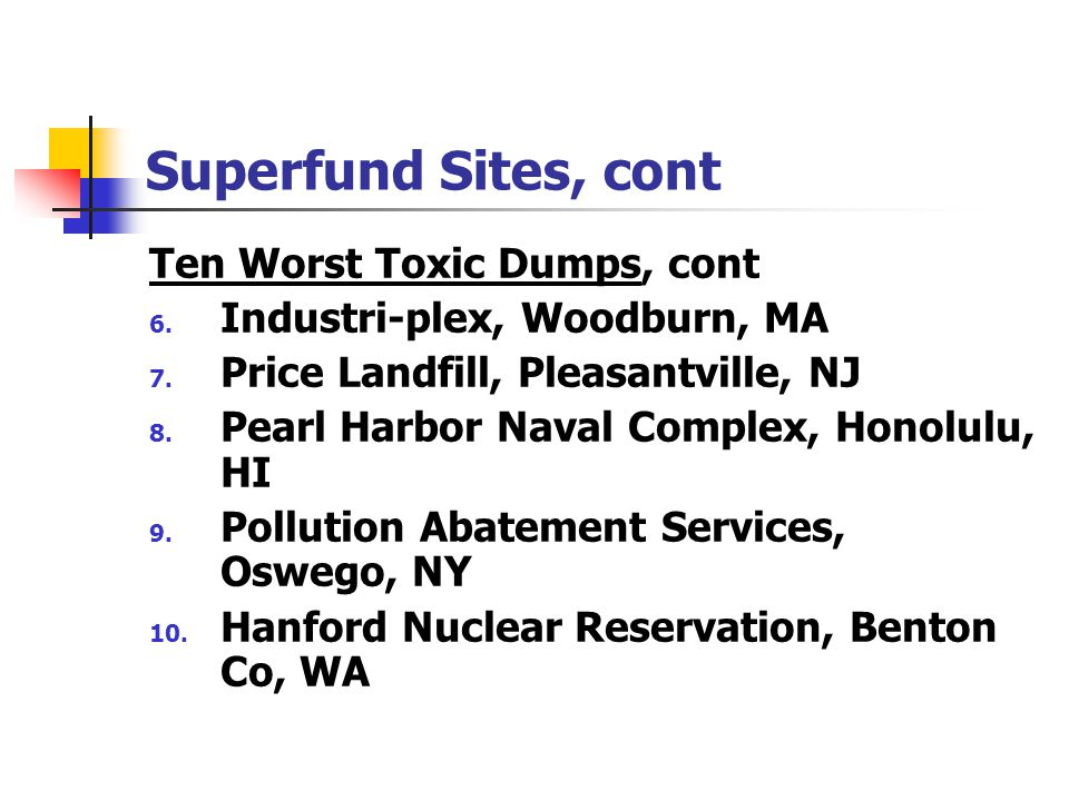 Superfund Sites, cont Ten Worst Toxic Dumps, cont 6. Industri-plex, Woodburn, MA 7. Price Landfill, Pleasantville, NJ 8. Pearl Harbor Naval Complex, H