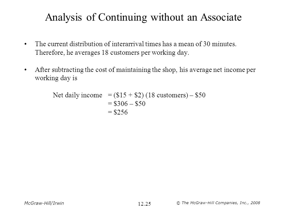 McGraw-Hill/Irwin © The McGraw-Hill Companies, Inc., 2008 12.25 Analysis of Continuing without an Associate The current distribution of interarrival t
