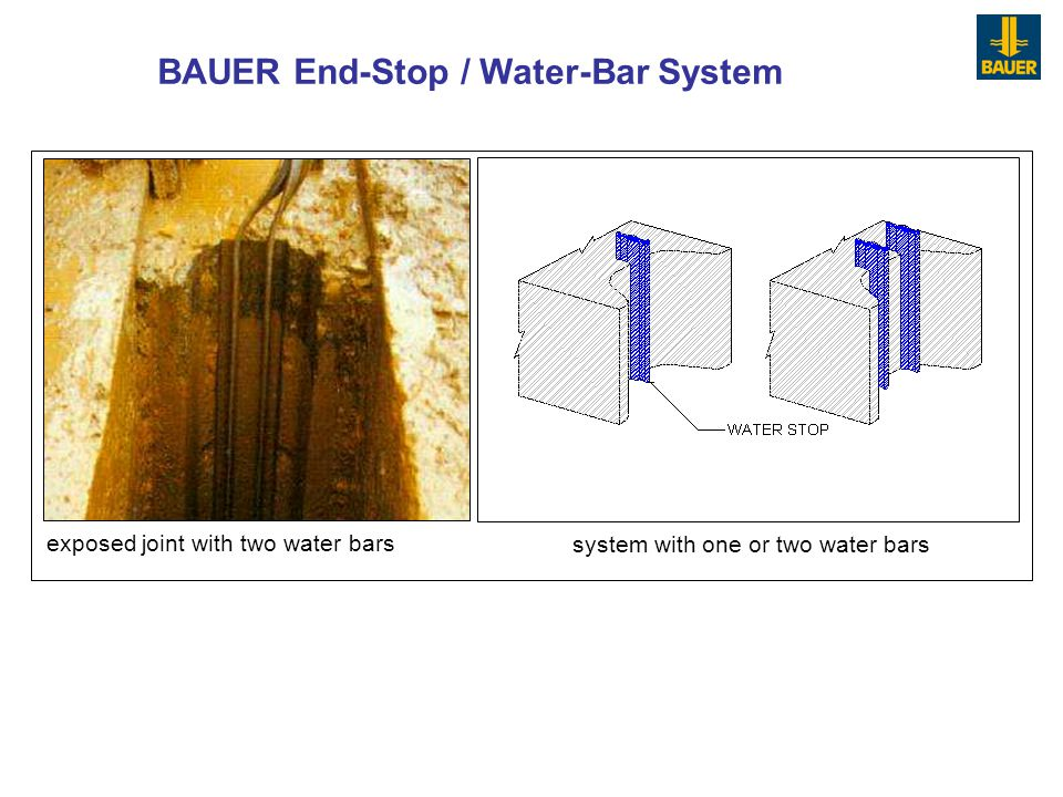 exposed joint with two water bars system with one or two water bars BAUER End-Stop / Water-Bar System