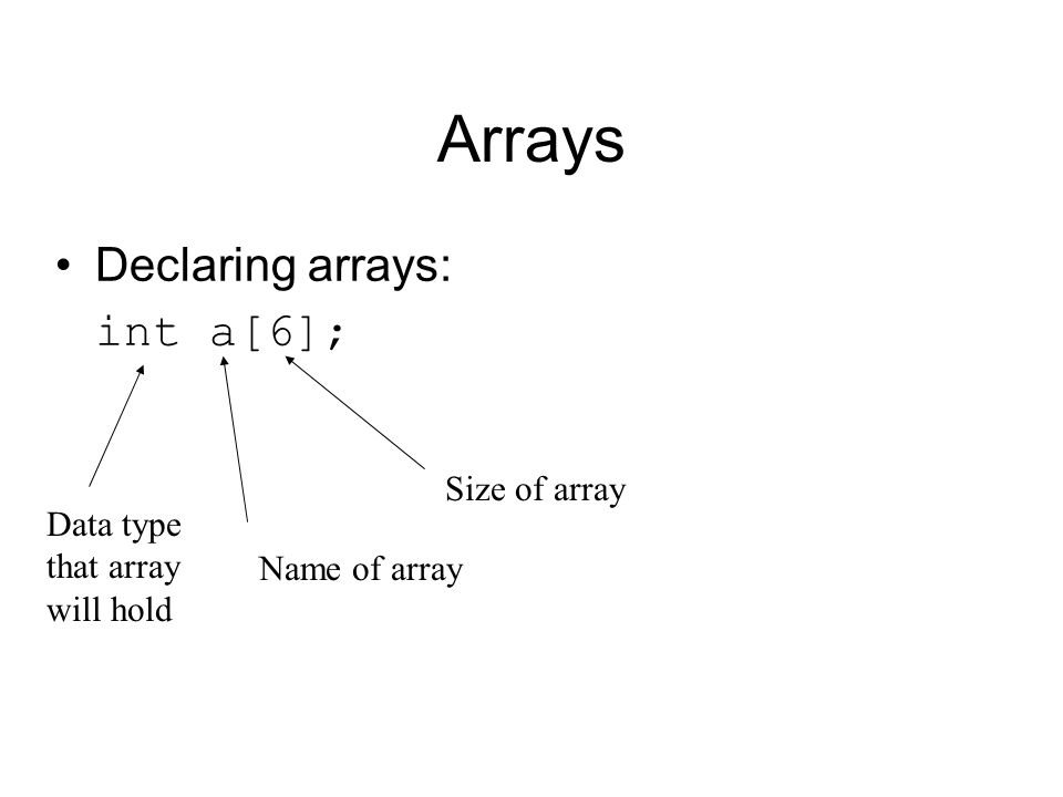 Arrays Declaring arrays: int a[6]; Data type that array will hold Name of array Size of array