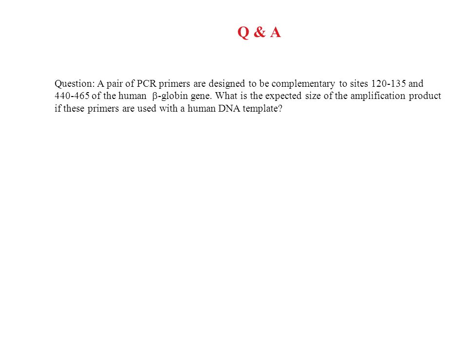 Q & A Question: A pair of PCR primers are designed to be complementary to sites 120-135 and 440-465 of the human  -globin gene.