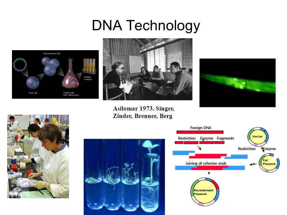 DNA Technology Asilomar 1973. Singer, Zinder, Brenner, Berg