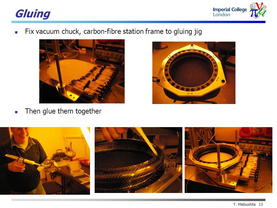 T. Matsushita 13 Gluing Fix vacuum chuck, carbon-fibre station frame to gluing jig Then glue them together