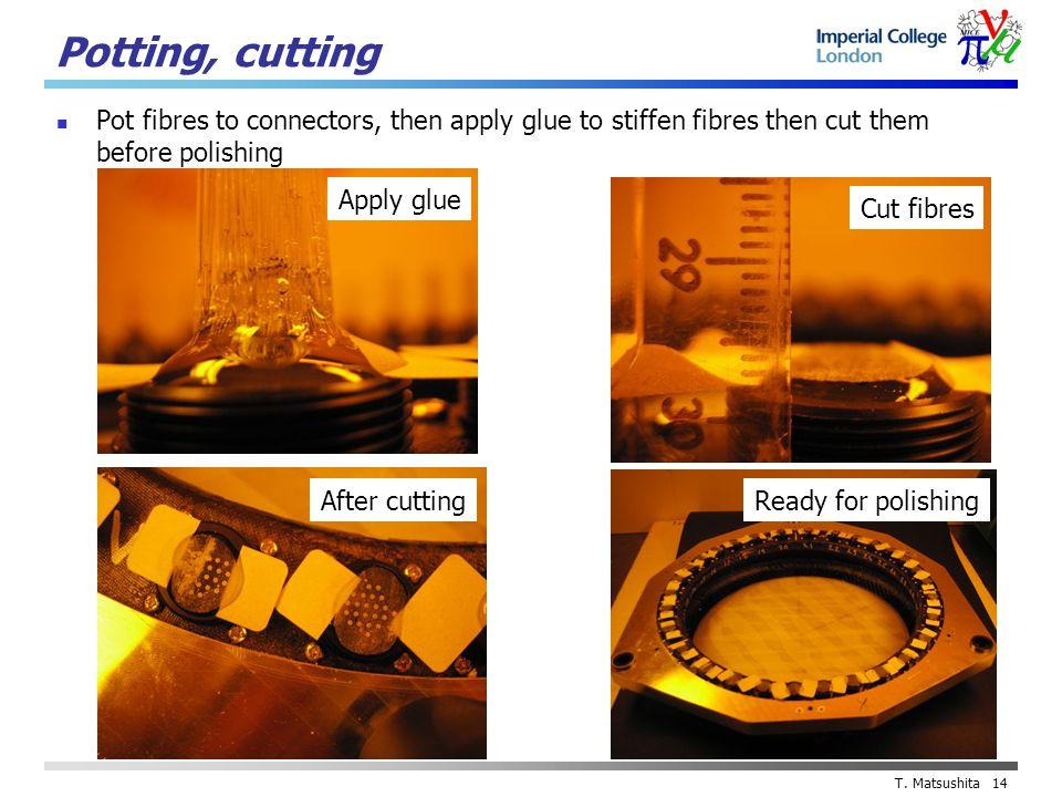 T. Matsushita 14 Potting, cutting Pot fibres to connectors, then apply glue to stiffen fibres then cut them before polishing Apply glue Cut fibres Aft