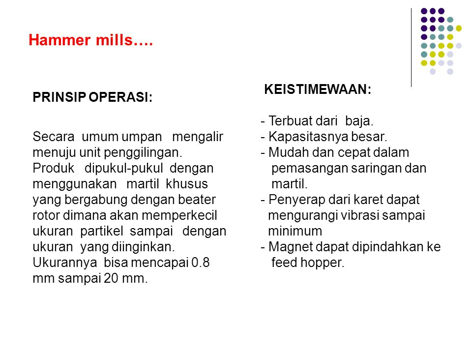 Hammer mills…..