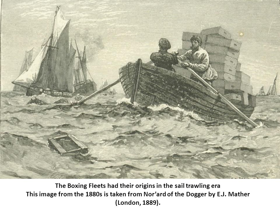 The Boxing Fleets had their origins in the sail trawling era This image from the 1880s is taken from Nor'ard of the Dogger by E.J.