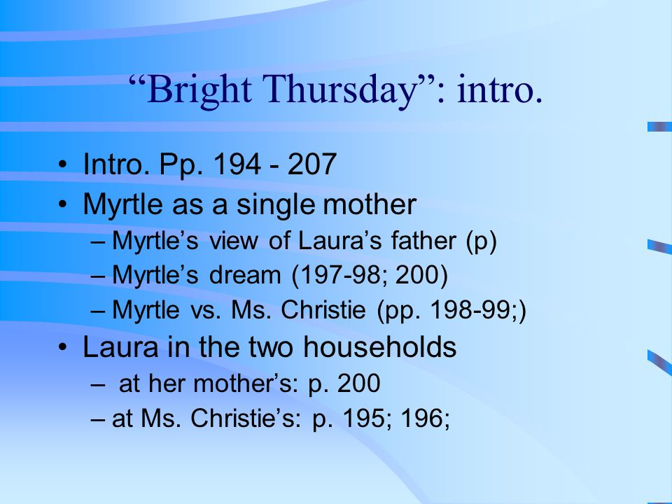 """""""Bright Thursday"""": intro. Intro. Pp. 194 - 207 Myrtle as a single mother –Myrtle's view of Laura's father (p) –Myrtle's dream (197-98; 200) –Myrtle vs"""