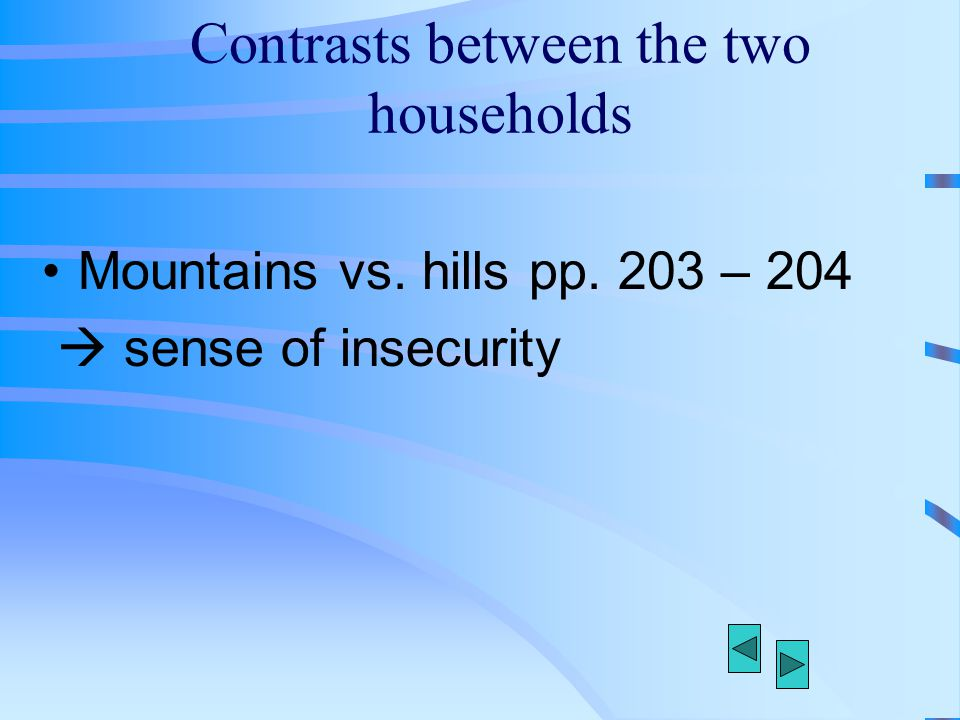 Contrasts between the two households Mountains vs. hills pp. 203 – 204  sense of insecurity