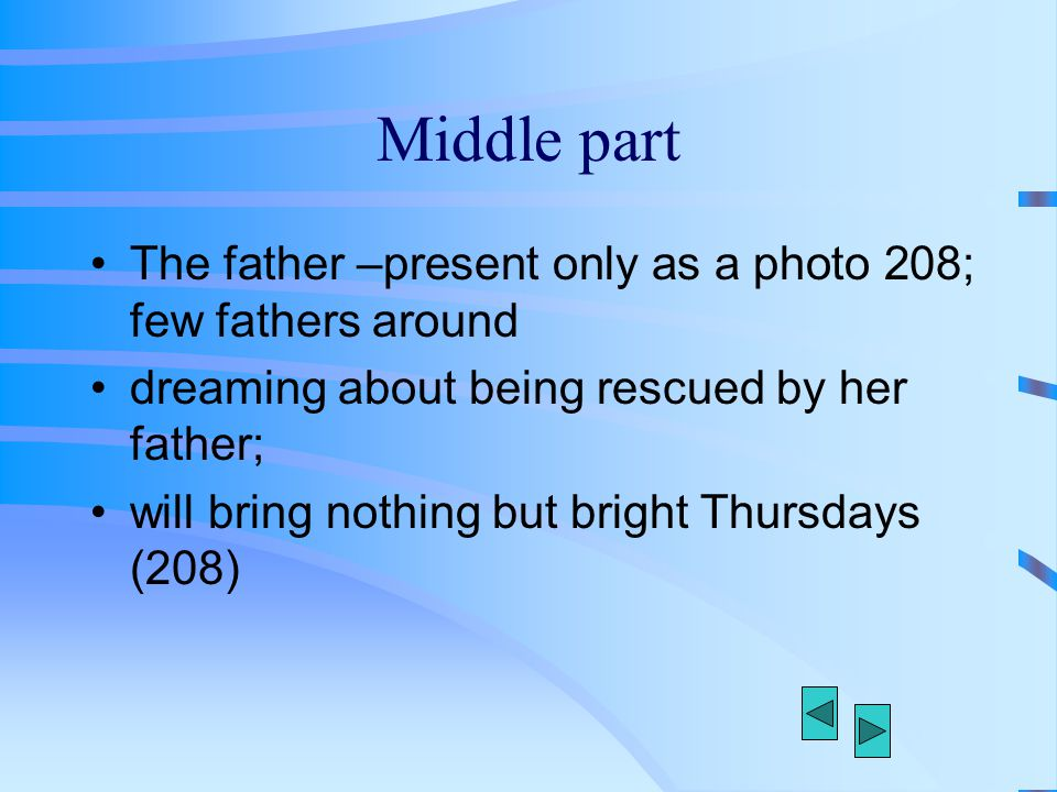 Middle part The father –present only as a photo 208; few fathers around dreaming about being rescued by her father; will bring nothing but bright Thur