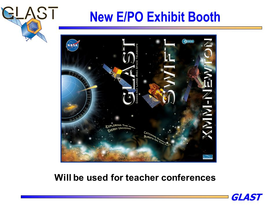GLAST New E/PO Exhibit Booth Will be used for teacher conferences