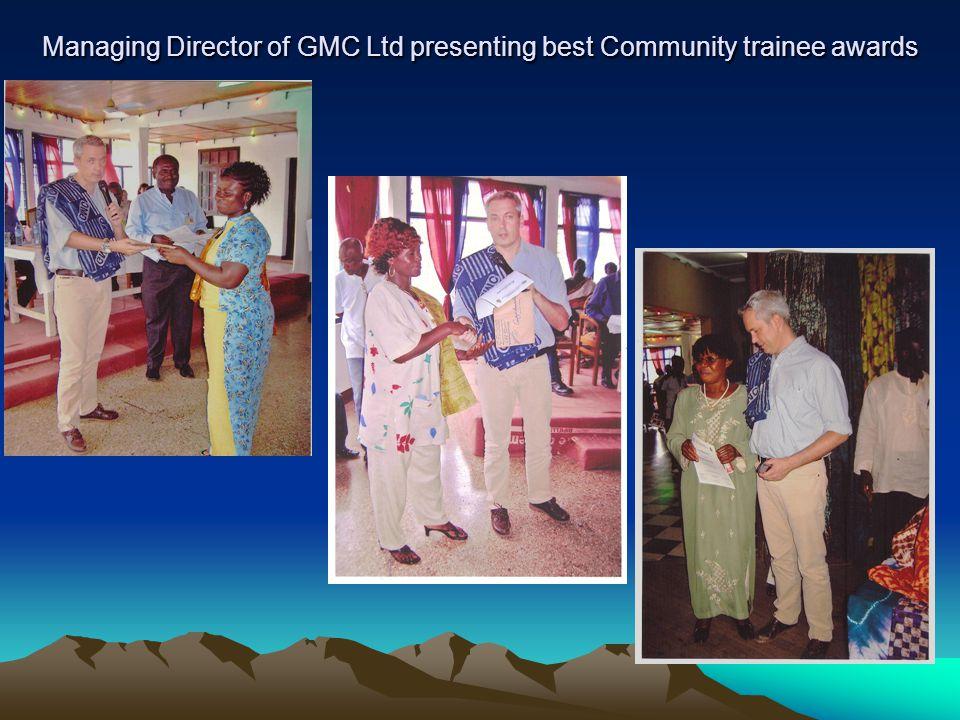 Managing Director of GMC Ltd presenting best Community trainee awards