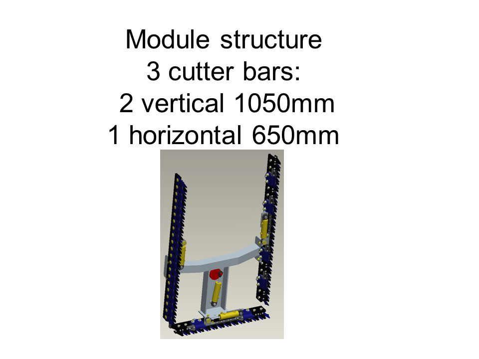 Module structure 3 cutter bars: 2 vertical 1050mm 1 horizontal 650mm