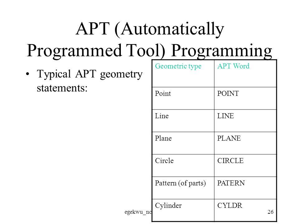 egekwu_nc26 APT (Automatically Programmed Tool) Programming Typical APT geometry statements: Geometric typeAPT Word PointPOINT LineLINE PlanePLANE CircleCIRCLE Pattern (of parts)PATERN CylinderCYLDR