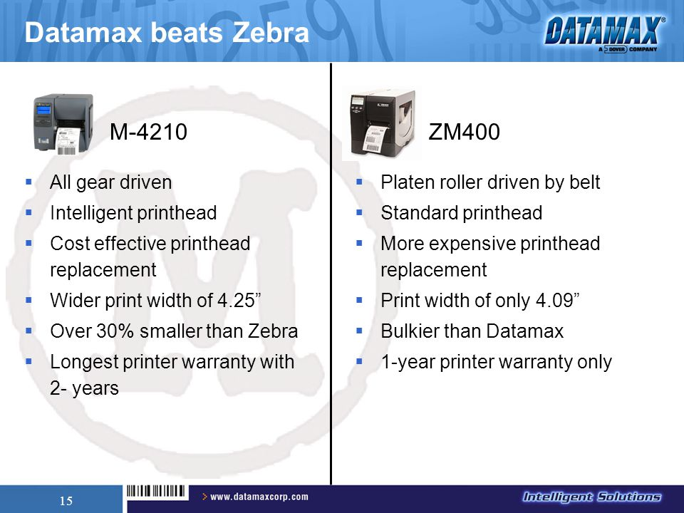 "15 Datamax beats Zebra  All gear driven  Intelligent printhead  Cost effective printhead replacement  Wider print width of 4.25""  Over 30% smalle"