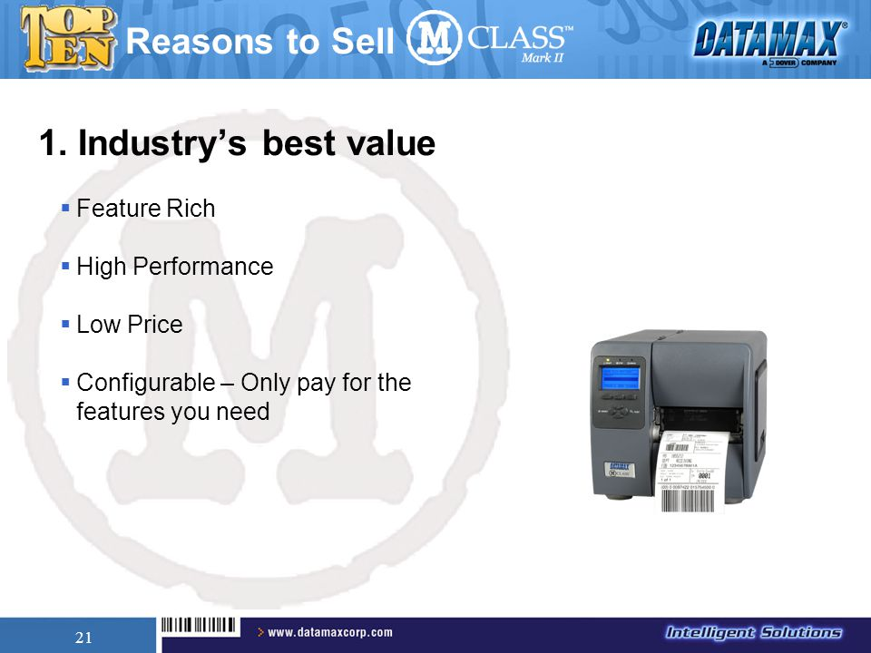 21 1. Industry's best value  Feature Rich  High Performance  Low Price  Configurable – Only pay for the features you need Reasons to Sell
