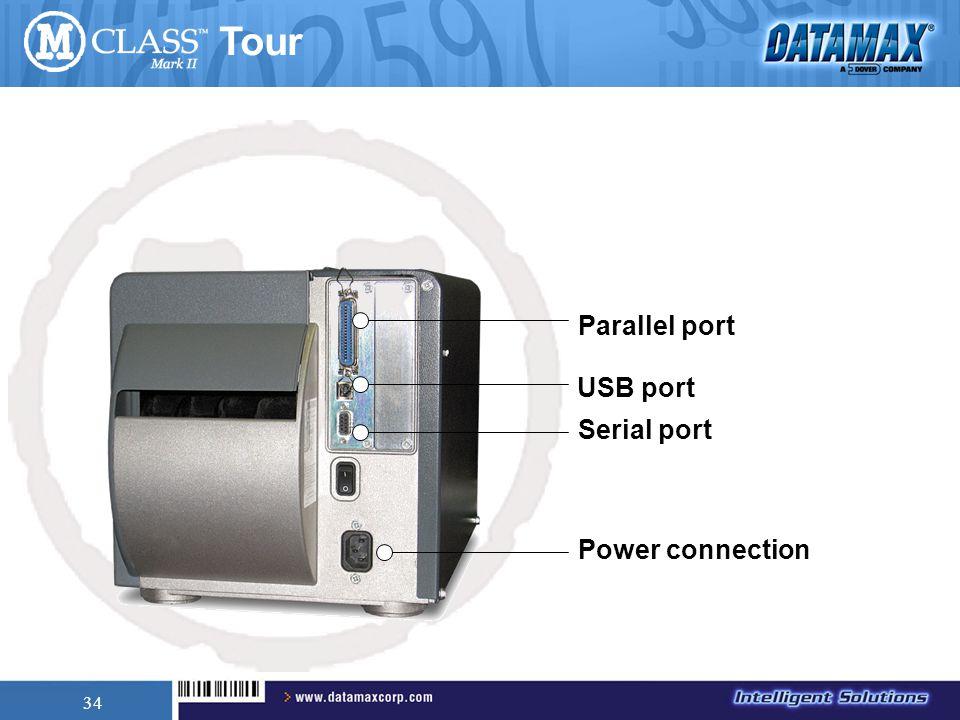 34 Power connection Parallel port USB port Serial port Tour