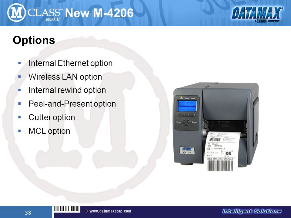 38 New M-4206  Internal Ethernet option  Wireless LAN option  Internal rewind option  Peel-and-Present option  Cutter option  MCL option Options