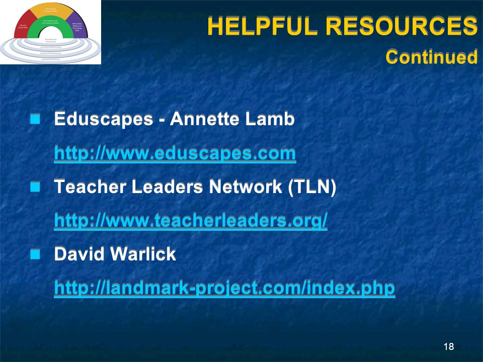 18 Eduscapes - Annette Lamb http://www.eduscapes.com Teacher Leaders Network (TLN) http://www.teacherleaders.org/ David Warlick http://landmark-project.com/index.php Eduscapes - Annette Lamb http://www.eduscapes.com Teacher Leaders Network (TLN) http://www.teacherleaders.org/ David Warlick http://landmark-project.com/index.php HELPFUL RESOURCES Continued