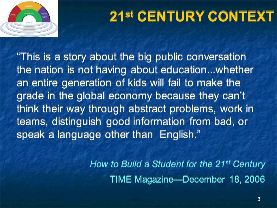 3 This is a story about the big public conversation the nation is not having about education...whether an entire generation of kids will fail to make the grade in the global economy because they can't think their way through abstract problems, work in teams, distinguish good information from bad, or speak a language other than English. How to Build a Student for the 21 st Century TIME Magazine—December 18, 2006 This is a story about the big public conversation the nation is not having about education...whether an entire generation of kids will fail to make the grade in the global economy because they can't think their way through abstract problems, work in teams, distinguish good information from bad, or speak a language other than English. How to Build a Student for the 21 st Century TIME Magazine—December 18, 2006 21 st CENTURY CONTEXT